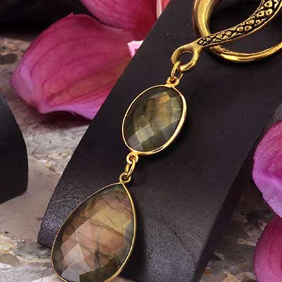 Brass with Faceted Labradorite Weights
