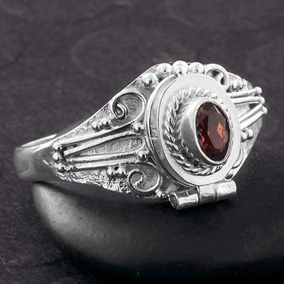 Silver and Genuine Garnet Poison Ring