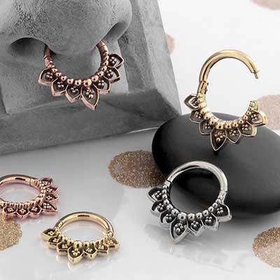 Gold Indigo Septum Clicker Ring
