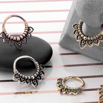 Gold Indigo Septum Seamless Ring