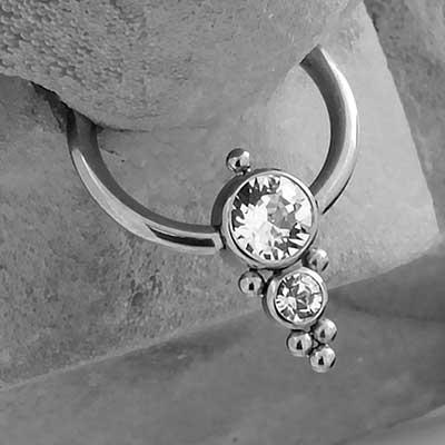 Beaded Stacked CZ Captive Bead Ring