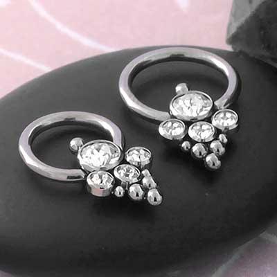 Beaded Chandelier CZ Captive Bead Ring