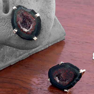 Silver and Geode Stud Earrings