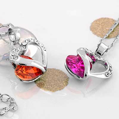 Captured CZ Heart Necklace
