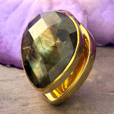 Solid Brass Spade Weights with Labradorite