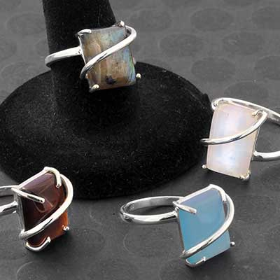 Silver and Stone Wrapped Ring