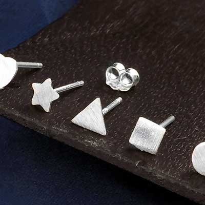 Silver Assorted Shape Stud Earrings