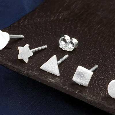 Silver Assorted Shape Stud Earrings