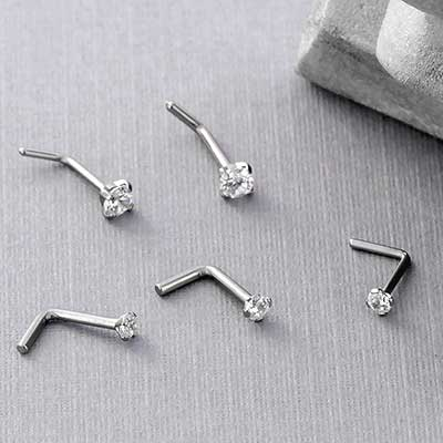 Titanium Prong Set CZ Straight Bend Nosescrew