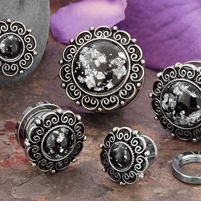 Silver Flake Floral Plugs