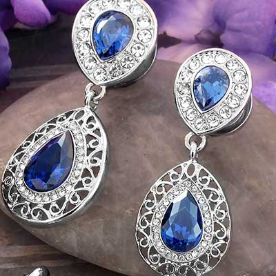 Royal Blue CZ Teardrop Dangle Plugs