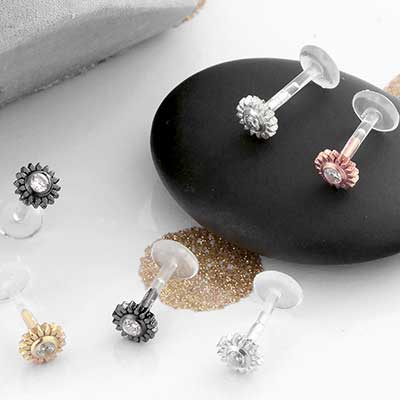 Crystal Flower Flexible Plastic Labret
