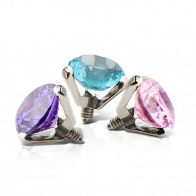 PRE-ORDER Titanium Faceted Prong Set Threaded End