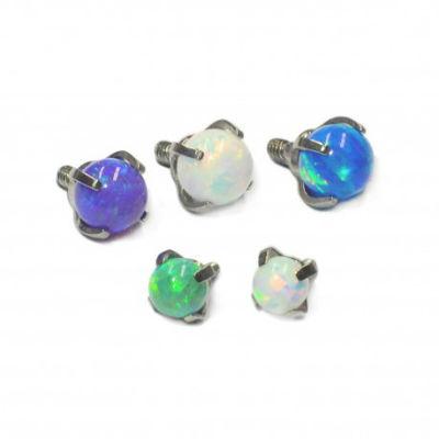 PRE-ORDER Titanium Prong Set Opal Ball Threaded End