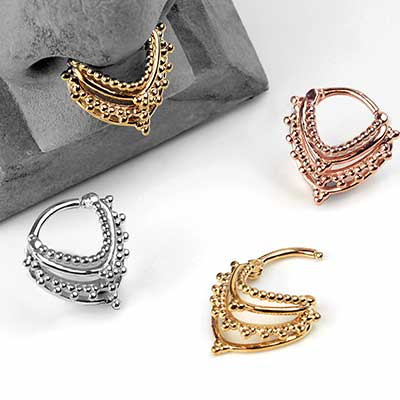 Beaded Warrior Septum Clicker Ring