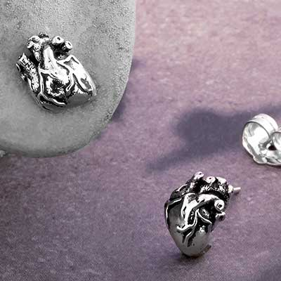 Anatomic Heart Stud Earrings
