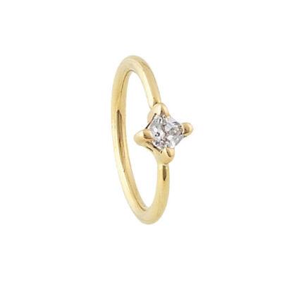 PRE-ORDER 14k Gold Princess Cut Fixed Bead Ring