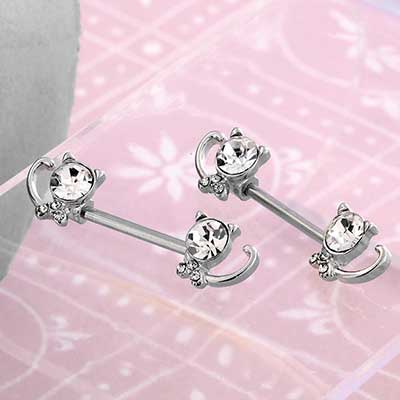 Jeweled Kitty Nipple Barbell