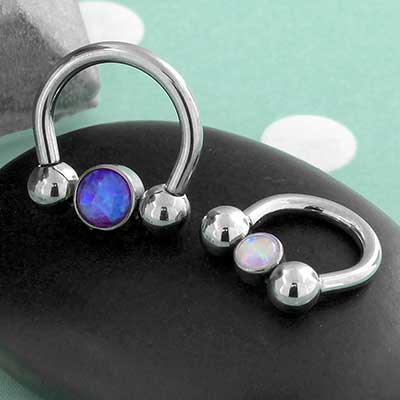Titanium Circular Barbell with Opal Bead