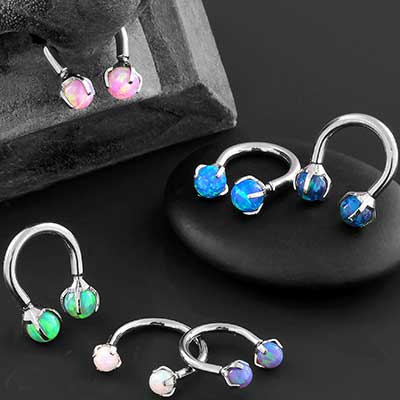 Titanium Circular Barbell with Prong Set Opals