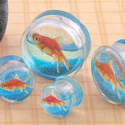 Acrylic Glitter Goldfish Plugs