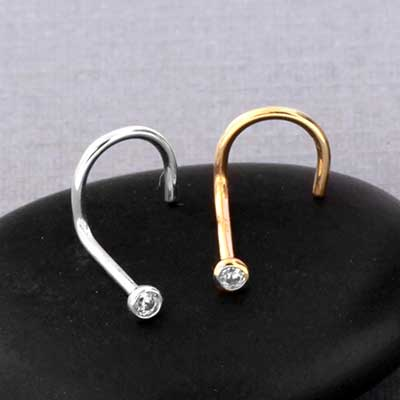 14k Gold Bezel Set CZ Nosescrew
