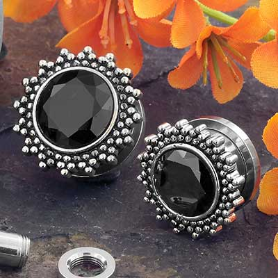 Black CZ Sunshine Plugs