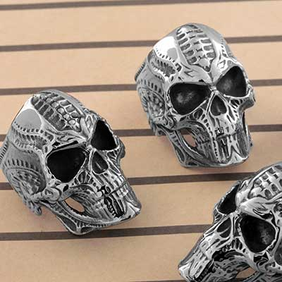 Steel Bio-Mechanical Skull Ring