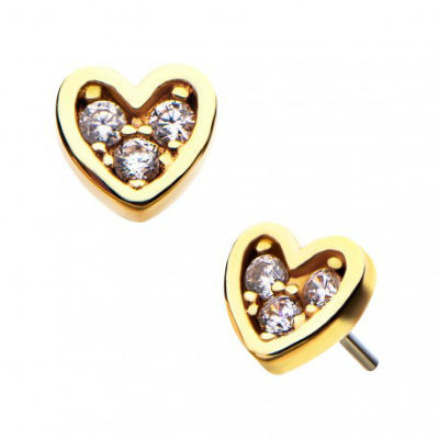 PRE-ORDER 14k Gold Gemmed Heart Threadless End