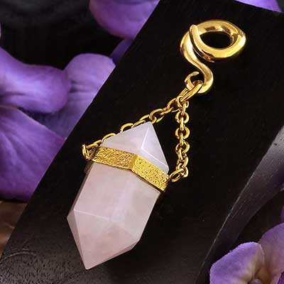 Solid Brass and Terminated Rose Quartz Crystal Weights