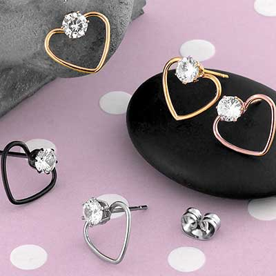 CZ Gem Heart Earrings