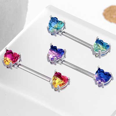 Heart Fade Gem Nipple Barbell