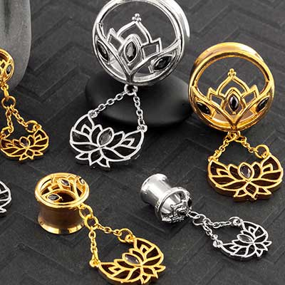 Gemmed Lotus Dangle Eyelets