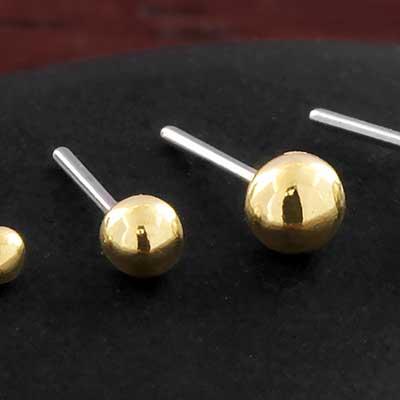 14K Gold Ball Threadless End