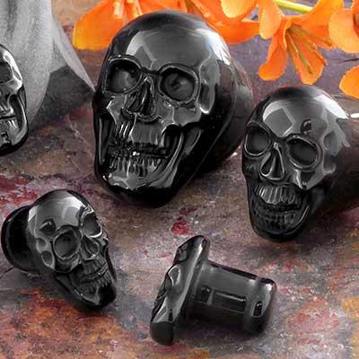 Single Flare Black Onyx Skull Plug