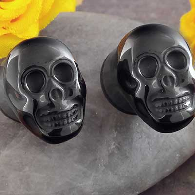 Single Flare Black Onyx Sugar Skull Plug