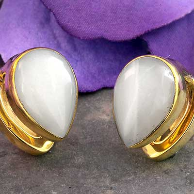 Solid Brass Mini Spade Weights with Moonstone