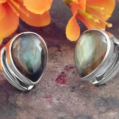 White Brass Mini Spade Weights with Labradorite