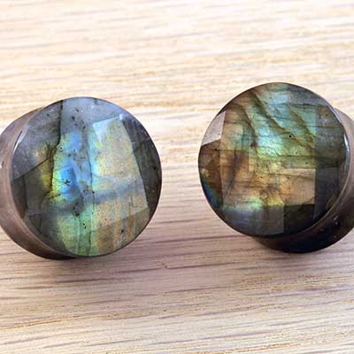 Faceted Labradorite Plugs