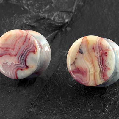 Crazy Lace Agate Plugs