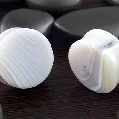Double Flare Gray Agate Plugs
