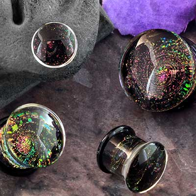 Glass Sparkle Swirl Plugs