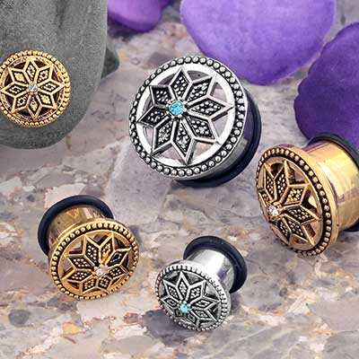 Single Flare Beaded Starflower Plugs