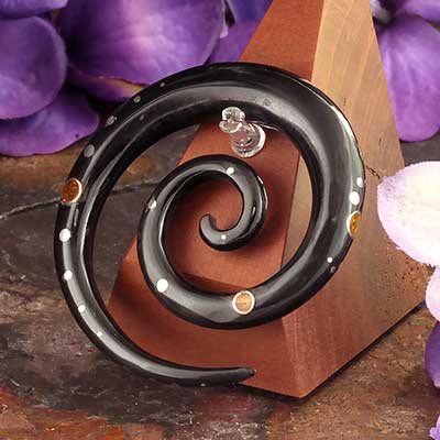 Black Horn Spirals with Amber