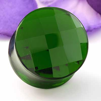 Green Glass Faceted Plugs