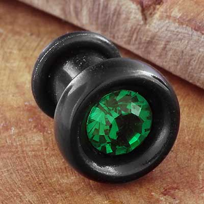 Ebony Wood Plugs with Emerald CZ