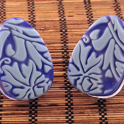 Blue William Morris Teardrop Plugs