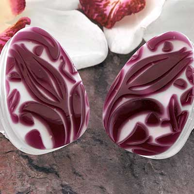 Purple William Morris Teardrop Plugs