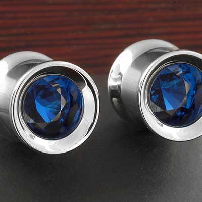 Titanium Floating Gemmed Eyelet (Sapphire)