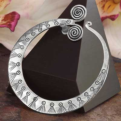 Ancient Silver Spiral Hoops